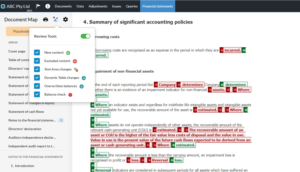 Built-in reconciliations, annotations and guidance to easily understand changes made