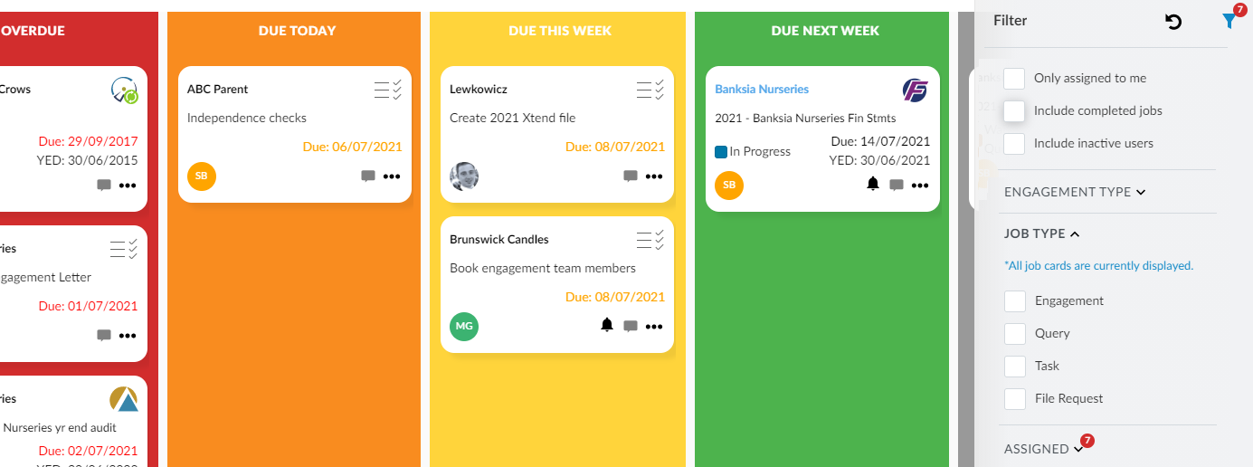 See your firm's full workstream at a glance and apply custom views and filters to ensure critical deadlines don't clash.